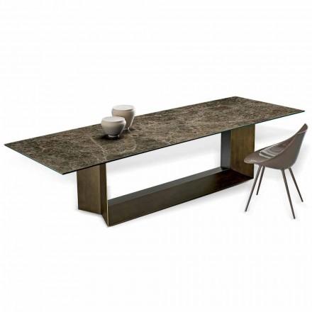 Mesa de comedor Emperador de cerámica y metal de bronce Made in Italy - Marrón oscuro