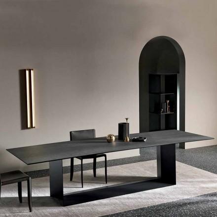 Mesa de comedor de cerámica de piedra de saboya antracita Made in Italy - Marrón oscuro