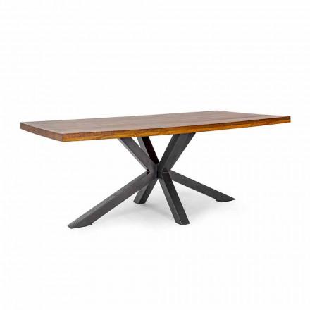 Mesa de comedor Homemotion con base de acero en madera de mango - Marvin