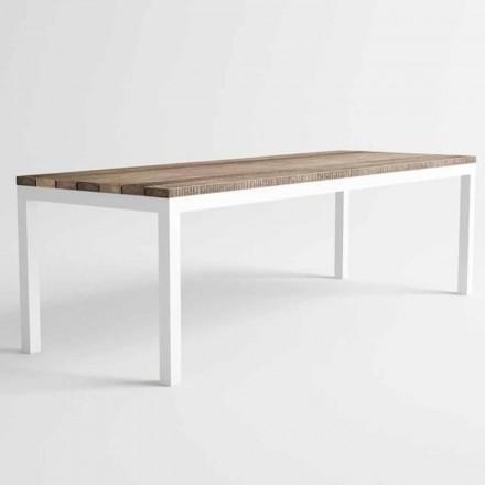 Mesa de comedor de madera y aluminio para exteriores de diseño moderno - Ganges