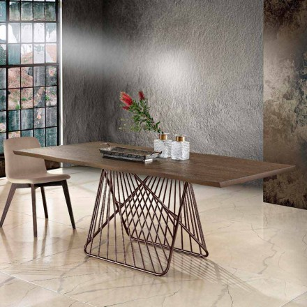 Mesa de comedor moderna en madera maciza hecha en Italia.
