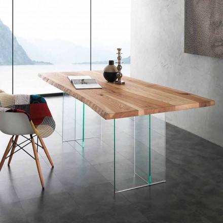 Mesa de vidrio con tapa de madera maciza Marlon