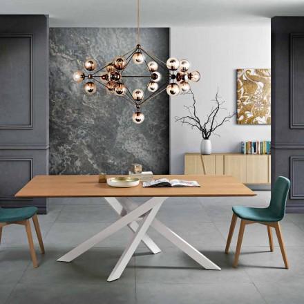 Mesa de comedor moderna en MDF de madera y metal fabricada en Italia, Dionigi