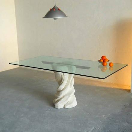 Mesa de piedra de Vicenza y cristal esculpida a mano Urano