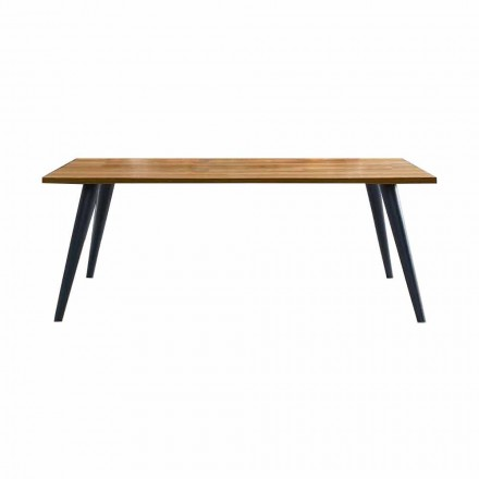 Mesa de comedor moderna con tapa y base de madera Made in Italy - Motta