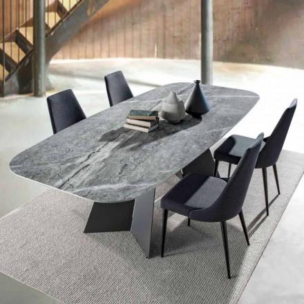 Mesa de comedor moderna, tapa en gres porcelánico - Meduno