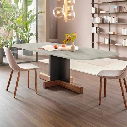 Mesa de comedor moderna con tapa de mármol Made in Italy - Mesa cruzada Bonaldo