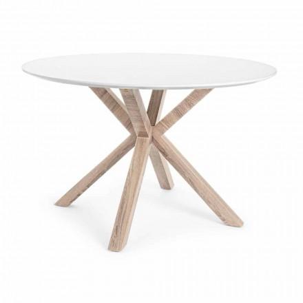 Mesa de comedor moderna con tapa redonda en MDF blanco Homemotion - Vento