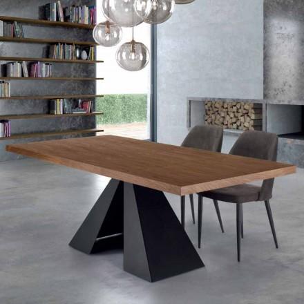 Mesa de comedor moderna en madera chapada y acero Made in Italy - Dalmata
