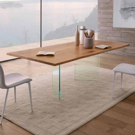 Mesa de comedor en roble anudado y vidrio de alta calidad Made in Italy - Sibillo