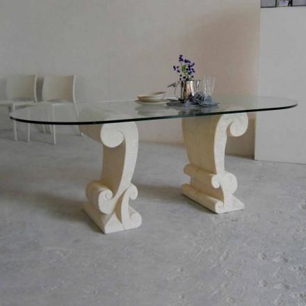Mesa ovalada piedra Vicenza y cristal hecha a mano Aracne