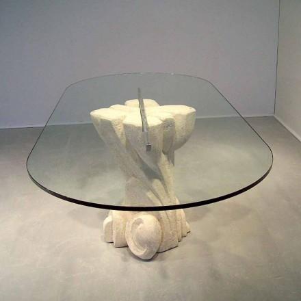 Mesa ovalada piedra Vicenza y cristal hecha a mano Afrodite