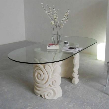 Mesa ovalada piedra de Vicenza y cristal hecha a mano Aden