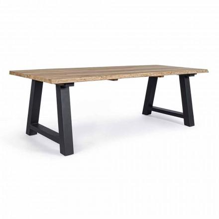 Mesa de comedor exterior en teca y aluminio, Homemotion - Rolando