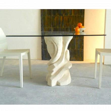 Mesa cuadrada piedra Vicenza y cristal hecha a mano Leda