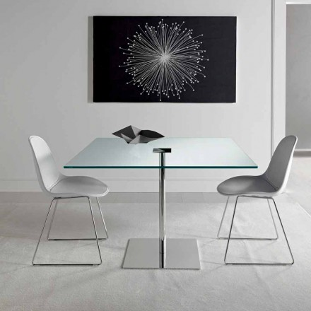 Mesa de comedor cuadrada en vidrio extraligero y metal Made in Italy - Dolce