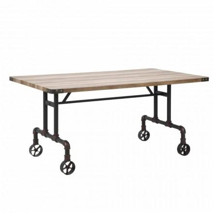 Mesa de comedor de diseño rectangular, tablero de MDF y base de metal - Fabrice