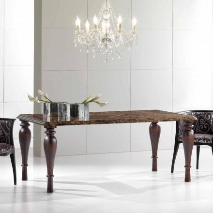Mesa de comedor rectangular en mármol oscuro Emperador Made in Italy - Nicolas