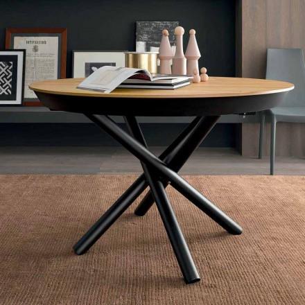 Mesa de comedor extensible redonda con tapa de madera Made in Italy - Crodino