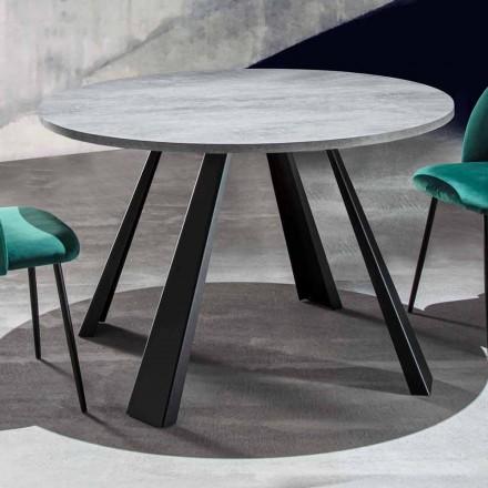 Mesa de comedor redonda extensible hasta 370 cm en madera y metal - Caimano