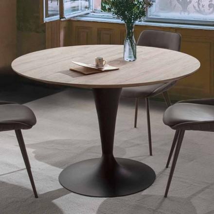 Mesa de comedor redonda con tapa en madera laminada de roble Materic - Moreno