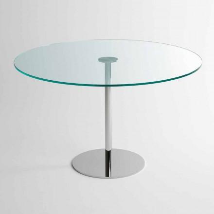 Mesa de comedor redonda con sobre de vidrio extralight Made in Italy - Dolce
