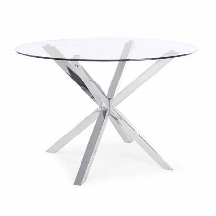 Mesa de comedor redonda Homemotion con tapa de vidrio templado - Denda
