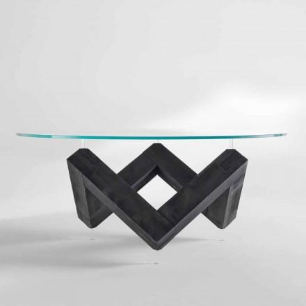 mesa redonda de comedor en madera con tapa de cristal Bao