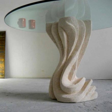 Mesa redonda piedra Vicenza y cristal esculpida a mano Cadmo