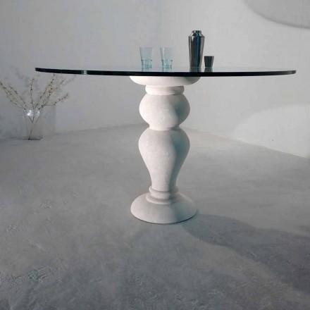 Mesa redonda piedra Vicenza y cristal esculpida a mano Edipo