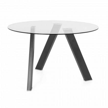Mesa de comedor redonda de 120 cm de diámetro en diseño de vidrio y metal - Tonto