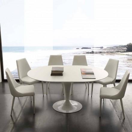 Mesa de comedor redonda extensible hasta 170 cm Topeka, diseño moderno