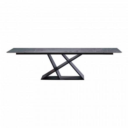 Mesa extensible de lujo hasta 294 cm con tablero de gres Made in Italy - Cirio