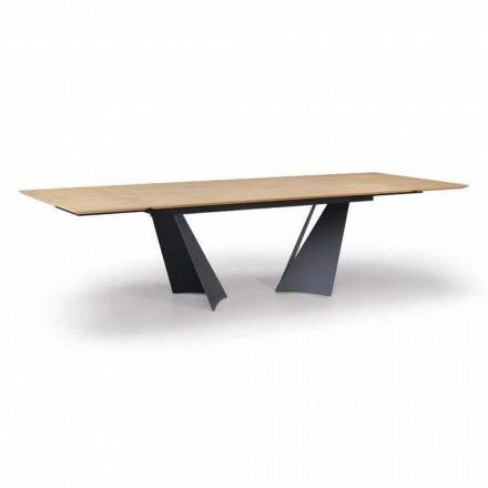 Mesa de diseño extensible hasta 294 cm en madera y metal Made in Italy - Nuzzo