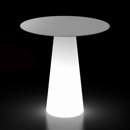 Mesa de diseño para exteriores con base de luz LED Made in Italy - Forlina