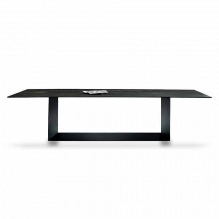 Mesa de diseño en cerámica y metal Matt Noir Desir Made in Italy - Marrón oscuro
