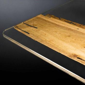 Diseñador de delfines mesa de madera y vidrio veneciano Venecia