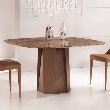 Mesa de diseño en mármol oscuro Emperador 130x130 cm, Made in Italy - Nuvolento