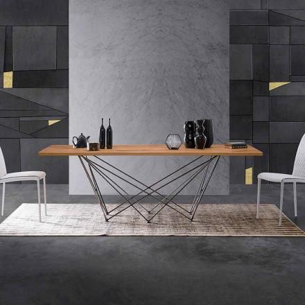 Mesa de diseño moderno con tapa de madera y base de metal, Esperia