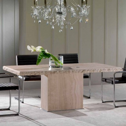 Mesa de comedor de piedra travertina, diseño moderno, Narciso