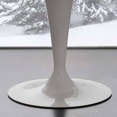 mesa redonda de vidrio templado extrablanco fijo y acero de Aurora