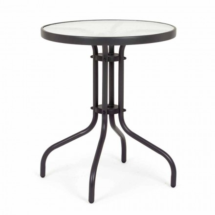 Mesa redonda de acero para jardín con sobre de vidrio de diseño - Purizia