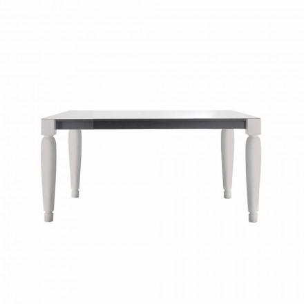 Mesa de cerámica de diseño de 6 plazas y patas de madera blanca - Claudiano