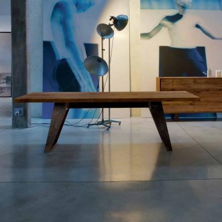 Mesa de madera maciza de aliso natural de diseño moderno, Antonio
