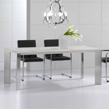 Mesa de comedor de piedra travertina, diseño moderno, Pompilio