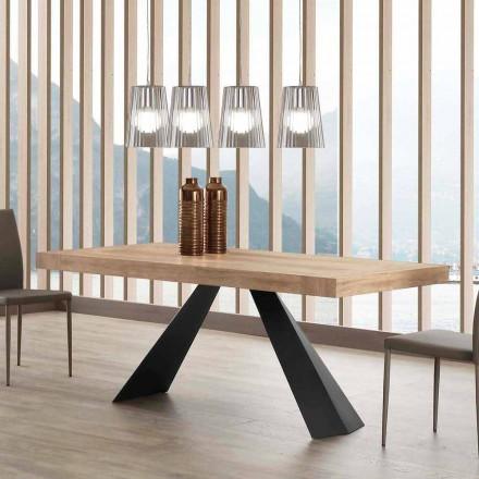Mesa moderna extensible hasta 260/280 cm en madera y metal Teramo