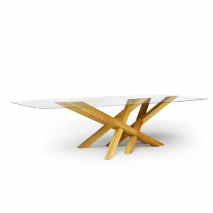 Moderna mesa en vidrio y roble natural producido en Italia Acciano.