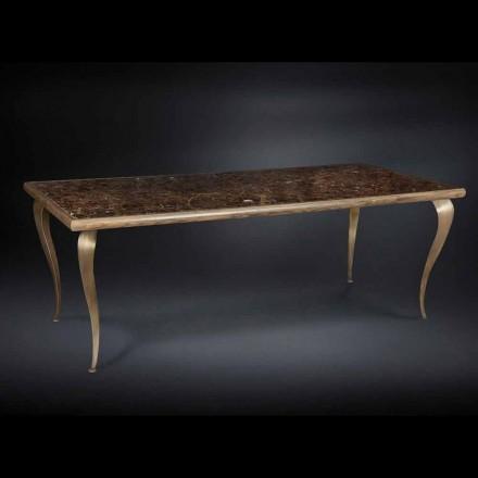 Mesa con estructura de madera maciza y tablero de mármol Adam