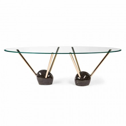 mesa de diseño oval con tapa de cristal 100% Made in Italy Zoe