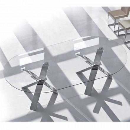 Mesa de diseño oval en cristal 220x120cm hecha en Italia Tree